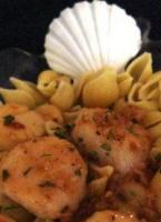savory sea scallops in white wine sauce picture