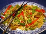 stir fried noodles with curried lamb picture