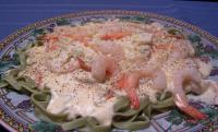 Shrimp Fettuccine Alfredo over Spinach Noodles picture