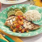 halibut with zesty peach salsa picture