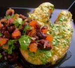 Seared Spiced Salmon Steaks With Black Bean Salsa picture