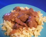 Beef Cubes over Egg Noodles picture