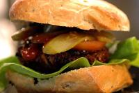 grilled or broiled teriyaki pork burgers picture