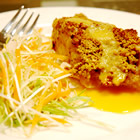 macadamia-crusted sea bass with mango cream sauce picture