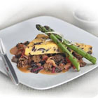 Oven-Roasted Polenta with Black Olives, Morel Mushroom Ragout and Grilled Spring Asparagus picture