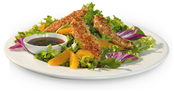 almond crusted chicken tender salad picture