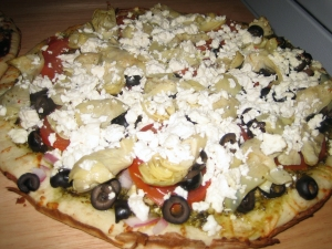 pesto artichoke pizza picture