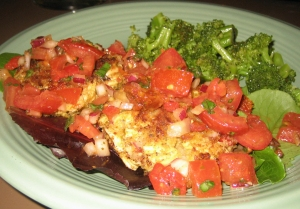tuscan chicken cakes with tomato basil relish picture
