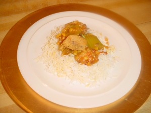 chicken stew over basmati rice picture