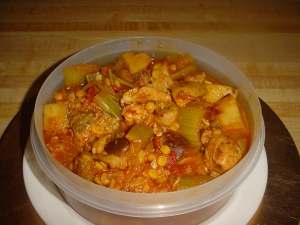 chicken celery stew with split chick pea picture