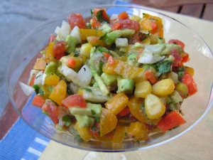 cucumber cilantro with avocado red bell pepper salad picture