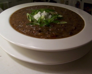jamaican black bean soup with cilantro cream picture