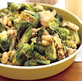 brussel sprouts with white beans and pecorino picture
