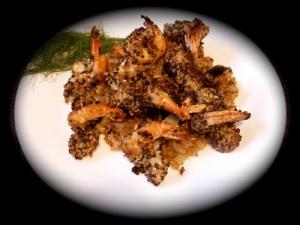 shrimp dukkah over fennel-onion basmati rice picture