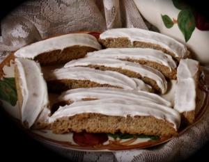 cinnamon orange biscotti with white chocolate glaze picture