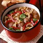 italian meatball and noodle soup picture
