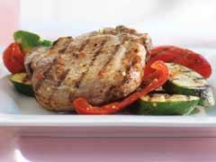 zesty pork chops and grilled vegetables picture