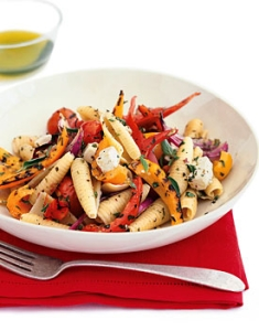 pasta with grilled vegetables and feta picture