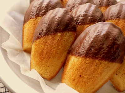 chocolate-dipped orange madeleines picture
