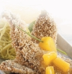sesame crusted fish with pine-citrus sauce picture