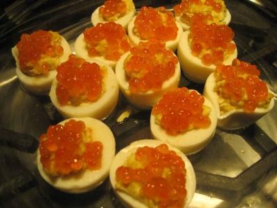 Russian devil eggs with caviar picture