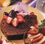 chocolate pound cake with strawberry ice cream and bittersweet chocola picture