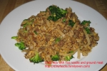 Fried Rice with rice noodle and ground meat picture