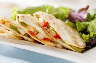 QUESADILLA -GRILLED FLOUR TORTILLA FILLED WITH ROASTED VEGETABLES , picture