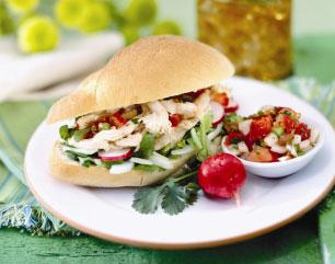 Chicken Tortas--Serve these sandwiches with sliced jalapeo peppers fo picture