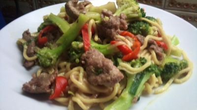 Spiced Noodle Broth with Poached Beef and Broccoli picture