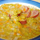 slow cooker split pea sausage soup picture