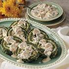 spinach spirals with mushroom sauce picture