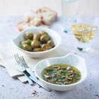 Warm Olive Oil-Garlic Dip with Olives and Country Bread picture