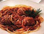 spaghetti with turkey-pesto meatballs picture
