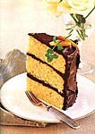 orange-almond cake with chocolate icing picture