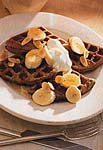 power waffles with yogurt, bananas and almonds picture
