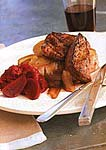 buffalo steak and onion confit on garlic toasts picture