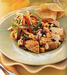 chicken breasts with cornmeal-coriander crust and black bean-mango salsa picture