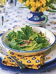 mushroom, radish, and bibb lettuce salad with avocado dressing picture