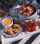fish soup with tomatoes and red pepper-garlic sauce picture