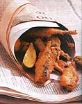 beer-batter-fried sardines and lime picture