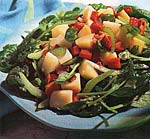 potato, spinach and red bell pepper salad with warm bacon vinaigrette picture
