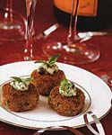 broiled crab cakes with chive and caper sauce picture