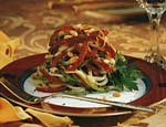 linguine with red peppers, green onions and pine nuts picture
