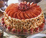 christmas cranberry, pear and walnut torte with cream cheese-orange frosting picture