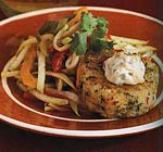 shrimp and sweet potato cakes with chaote slaw and chipotle sauce picture