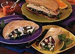 feta, cucumber and spinach pita sandwiches picture