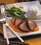 coriander pork tenderloin with carrot-ginger sauce picture
