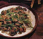 hoisin-braised pork, mushrooms and green beans on noodles picture