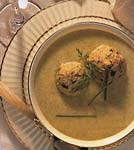 celery and parsnip soup with green onion-dill matzo balls picture